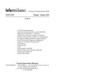 Informilano maggio-giugno 2013 - Circolo Esperantista Milanese