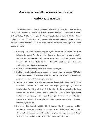 4 Haziran 2011 Merkez Yönetim Kurulu Toplantısı - Türk Toraks ...