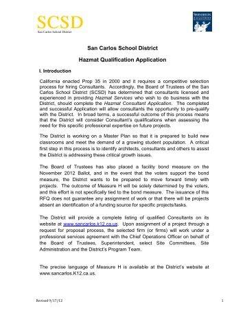 San Carlos School District Hazmat Qualification Application