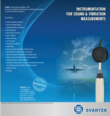instrumentation for sound & vibration measurements - Svantek