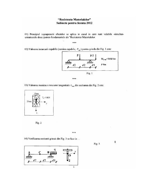 TCM subiecte - Facultatea de Mecanica Craiova