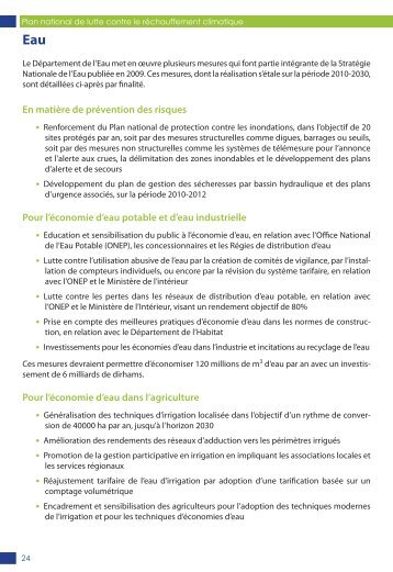 Eau - Les changements climatiques au Maroc