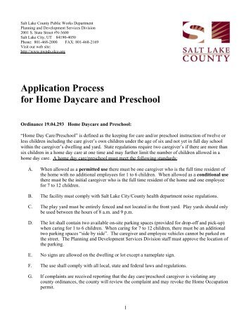 Application Process For Home Daycare And Preschool
