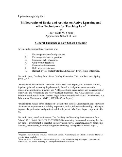 Bibliography of Books and Articles on Active Learning