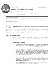 Summary of NCAA Regulations  Division I