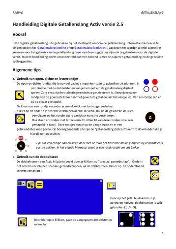 Handleiding Digitale Getallenslang Activ versie 2.5 - Edumat