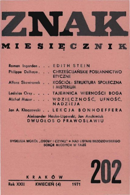 Nr 202 Kwiecieå 1971 Znak