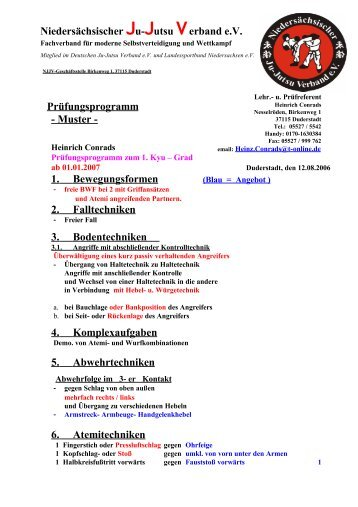 Prüfungsprogramm - Muster - 1. Bewegungsformen 2. Falltechniken ...
