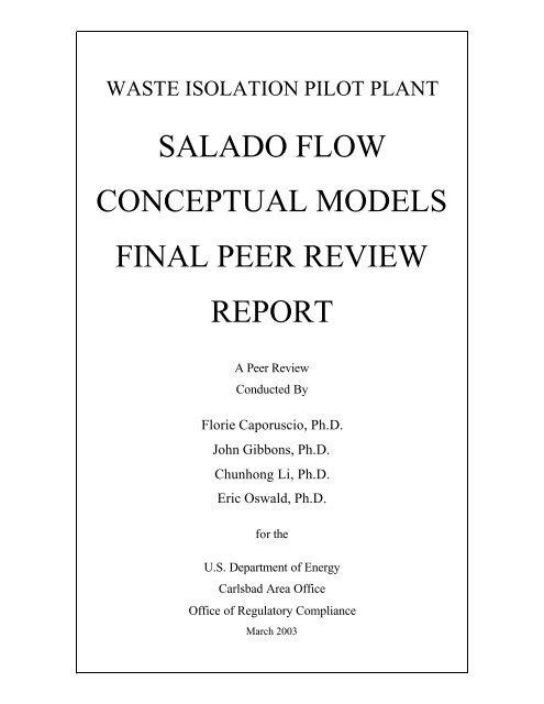 Salado - Waste Isolation Pilot Plant - U.S. Department of Energy