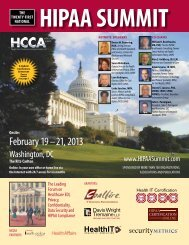 February 19 – 21, 2013 - HIPAA Summit