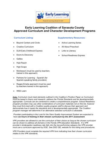 ELC Approved Curriculum List - Early Learning Coalition of ...
