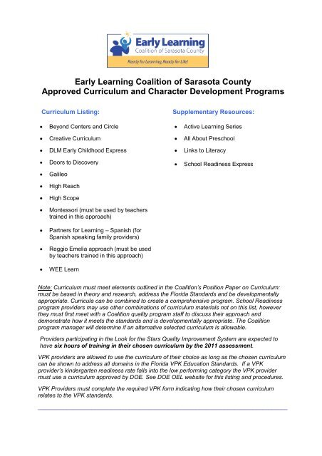 ELC Approved Curriculum List - Early Learning Coalition of