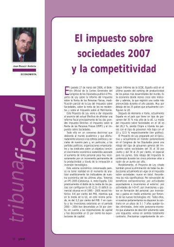 El impuesto sobre sociedades 2007 y la competitividad - Gremi d ...
