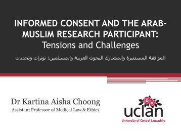 INFORMED CONSENT AND THE ARAB- MUSLIM RESEARCH ...