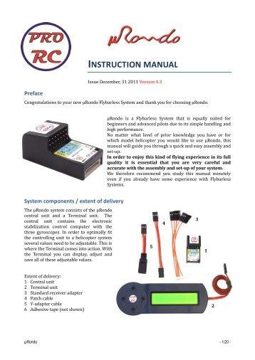 µRondo Instruction Manual version 4.3 - PRO-RC