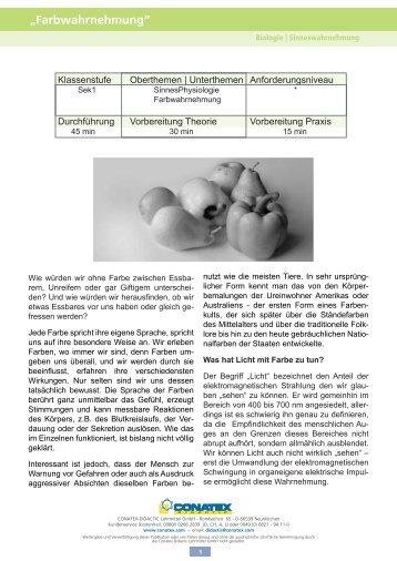 """Farbwahrnehmung"" - Conatex-Didactic Lehrmittel GmbH"