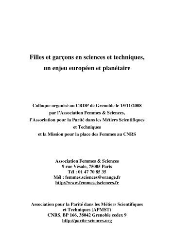 Actes du Colloque - Association Femmes & Sciences