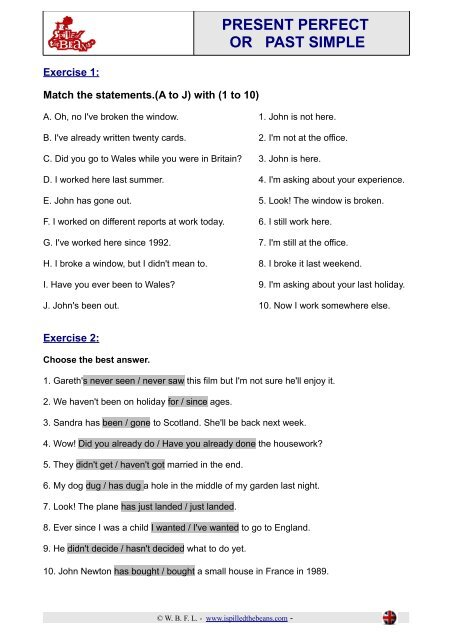 PRESENT PERFECT OR PAST SIMPLE - I spilled the beans