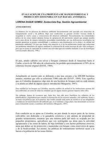 propuesta de manejo forestal y producción sostenible