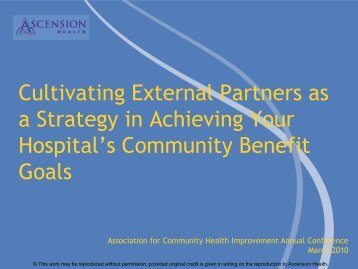 Ascension Health and Milwaukee Health - Alliance for Advancing ...