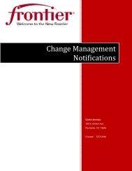 Change Management Notifications - Frontier