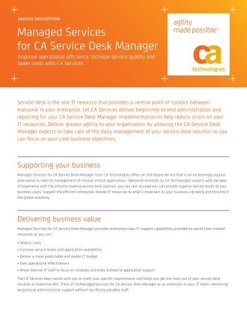 Managed Services For CA Service Desk Manager   CA Technologies
