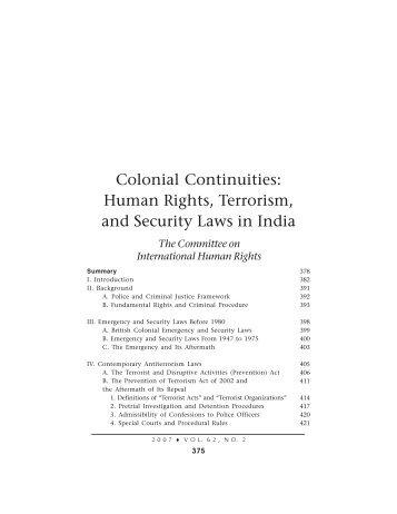 Colonial Continuities - New York City Bar Association