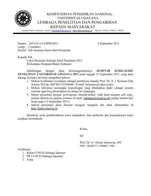 Contoh Surat Undangan Kegiatan Seminar Sample Surat Undangan