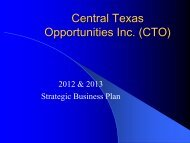 2012 - 2013 Strategic Business Plan - Central Texas Opportunities