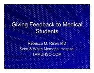 Giving Feedback to Medical Students - Healthcare Professionals
