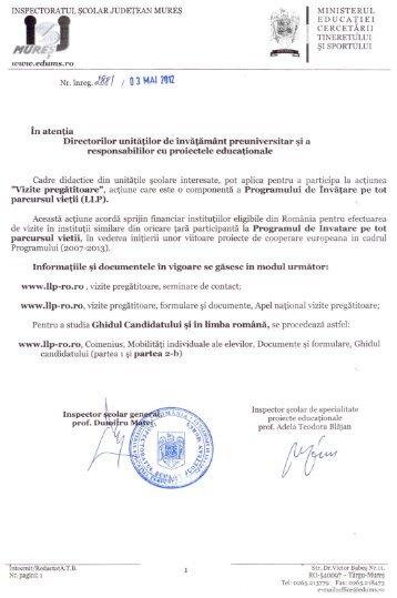 l şIsPoRTULUI - Inspectoratul Şcolar Judeţean Mureş