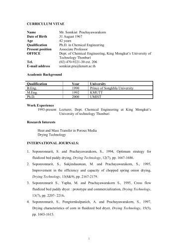 CURRICULUM VITAE Name Mr. Somkiat Prachayawarakorn ... - kmutt