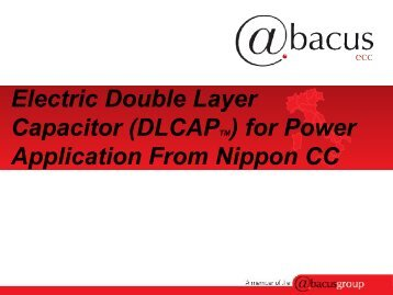 Supercondensatori: una tecnologia certa, efficente ed - Tecnoimprese