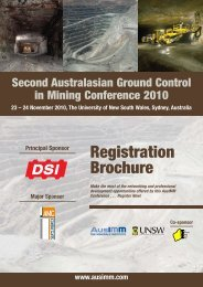 Second Australasian Ground Control in Mining ... - The AusIMM