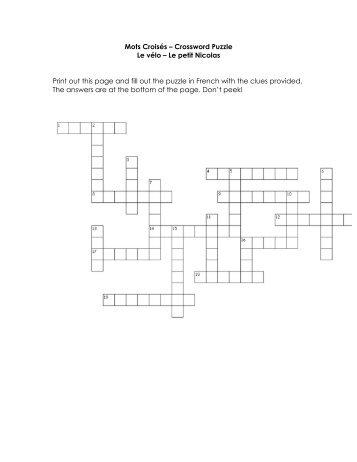 Mots Croisés – Crossword Puzzle Le vélo – Le petit ... - French Etc