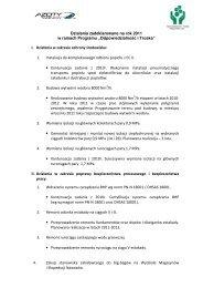 Działania zadeklarowane na rok 2011 w ramach Programu ...