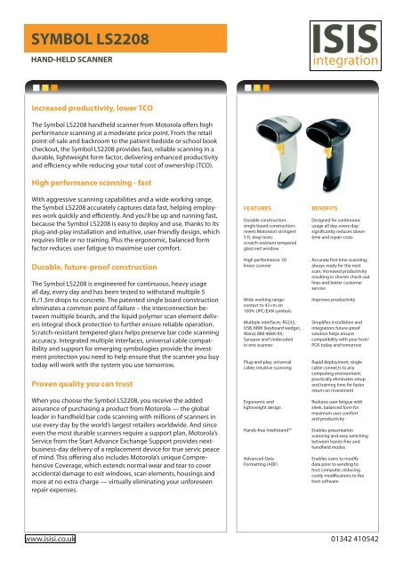 Symbol LS2208 Datasheet (140KB pdf) - Isis Integration