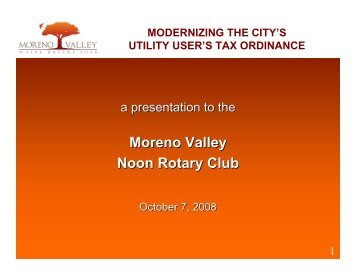 to view Utility User's Tax Presentation - City of Moreno Valley