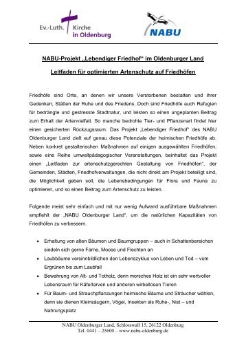 Leitfaden – Projekt Lebendiger Friedhof – Artenschutz im ...