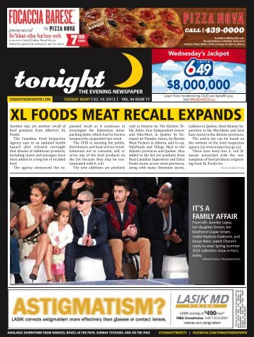 XL FOODS MEAT RECALL EXPANDS - tonight Newspaper