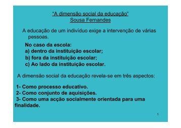 """""""A dimensão social da educação"""" Sousa Fernandes A educação de ..."""