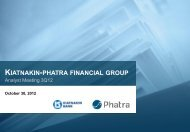 KIATNAKIN-PHATRA FINANCIAL GROUP - Investor Relations