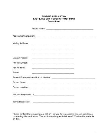 Housing Trust Fund Application