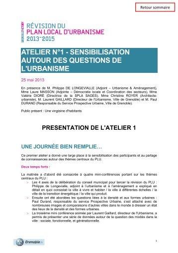Présentation de l'atelier 1 - Grenoble