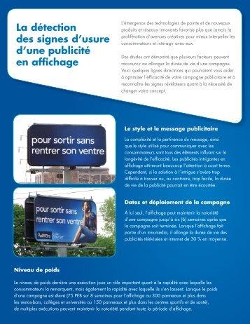 La détection des signes d'usure d'une publicité en affichage