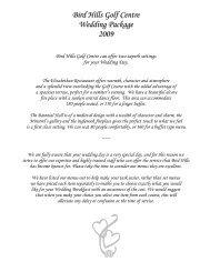 Bird Hills Golf Centre Wedding Package 2009