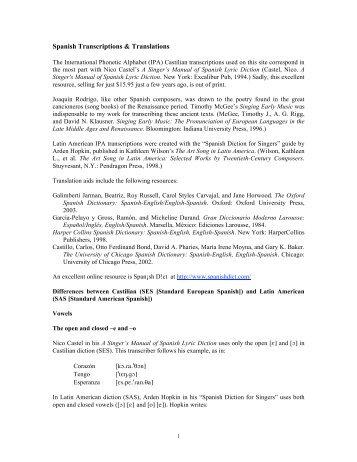 1 Spanish Transcriptions & Translations - IPA Source