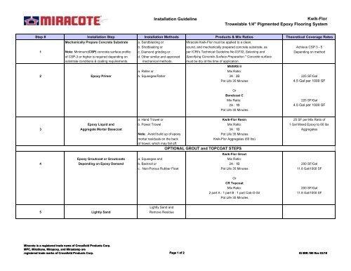 Installation Guideline Kwik Flor Trowelable 1 4 Miracote