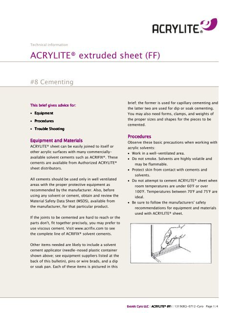 Fabrication Tech Brief - 8 - Cementing - ACRYLITE