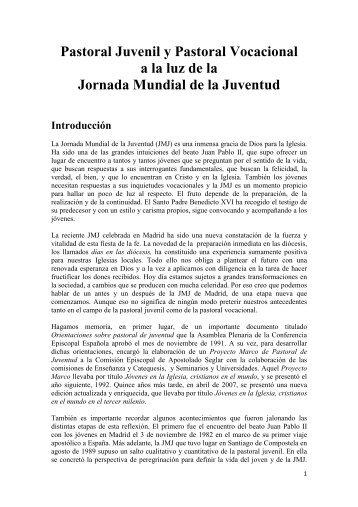 Pastoral Juvenil y Pastoral Vocacional a la luz de la Jornada ...